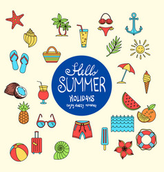 hello summer collection colorful funny ice vector image