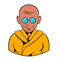 Indian monk in sunglasses icon cartoon vector