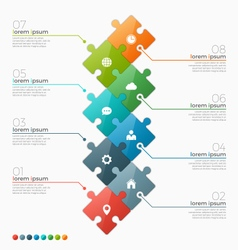 infographic template with 8 puzzle sections vector image