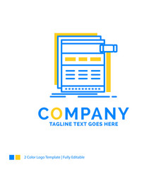 Internet page web webpage wireframe blue yellow vector