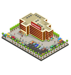 Isometric supermarket area concept vector