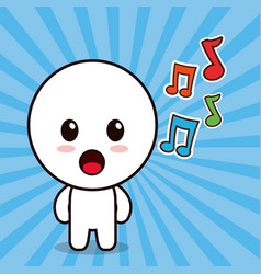 Kawaii character cartoon music note vector