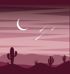 landscape sunset desert cactus sky moon and fall vector image
