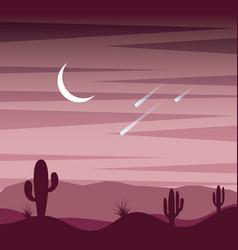 Landscape sunset desert cactus sky moon and fall vector