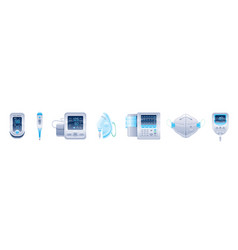 Medical device icons tonometer blood glucose vector