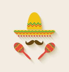 Mexican sombrero and maracas vector image