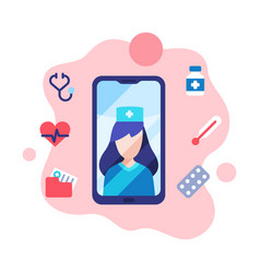 modern telemedicine female doctor consulting vector image