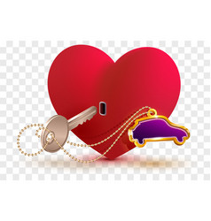 New car is key to heart of your beloved red heart vector