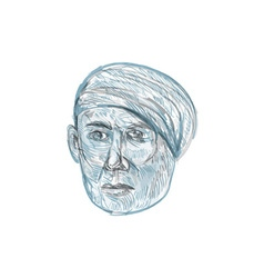 Old Man Wearing Turban Drawing vector