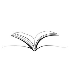 opened book icon logo continuous one line drawing vector image