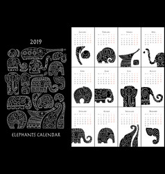 ornate elephants calendar 2019 vector image