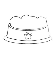 Pet bowl with food diet nutrition vector