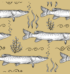 pike seamless pattern of pike vector image