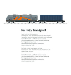 poster locomotive with cargo container vector image