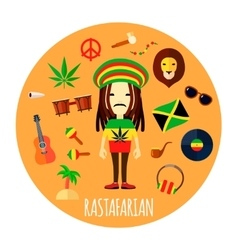 Rastafarian Character Accessories Flat Round vector image