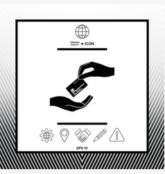 Receiving credit card hand holding credit card vector