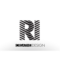 Ri r i lines letter design with creative elegant vector