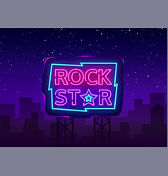 rock star neon sign design vector image