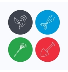 Scissors flower and shovel icons vector image