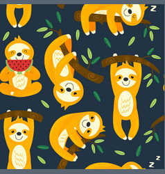 seamless pattern with funny sloths vector image