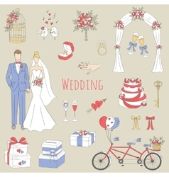 set hand drawn wedding icons vector image