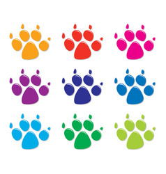 set of colorful dogs foot prints flat style vector image