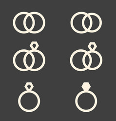 set of engagement rings icons vector image