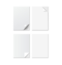Set of White A4 size paper sheet with different vector
