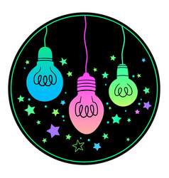set three bright glowing bulbs vector image