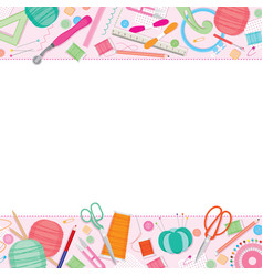 Sewing kit frame vector