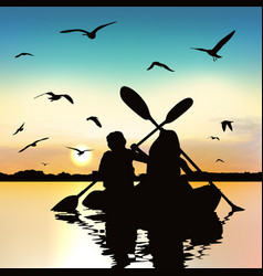 Silhouette funny girls kayaking vector