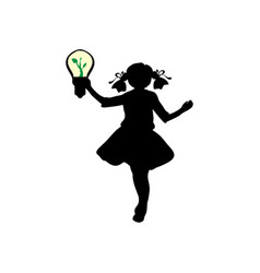 silhouette girl holds lamp sprout vector image