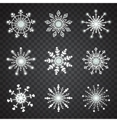 Snowflake icons on transparent background vector