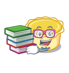 Student with book egg tart mascot cartoon vector