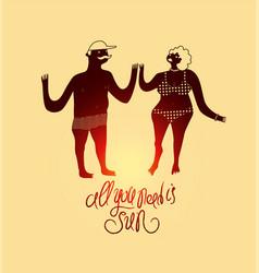 Summer cartoon couple calligraphic retro poster vector