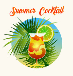 summer cocktail retro poster vector image