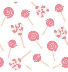 sweet cartoon colorful candies seamless pattern vector image
