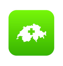 switzerland map icon digital green vector image