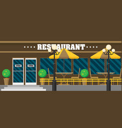 The facade of the cafe in flat vector