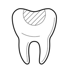tooth with filling icon vector image