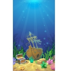 Underwater landscape Pirate chest with treasures vector image