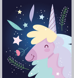 unicorn flowers love fantasy magic cute cartoon vector image