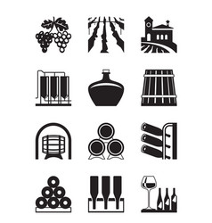 Vineyard icon set vector