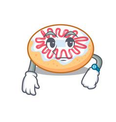 Waiting jelly donut mascot cartoon vector