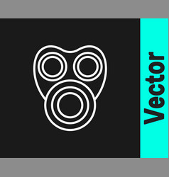 white line gas mask icon isolated on black vector image
