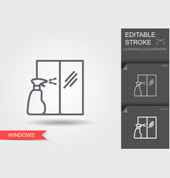 windows cleaning line icon with editable stroke vector image