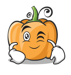 Wink face pumpkin character cartoon style vector