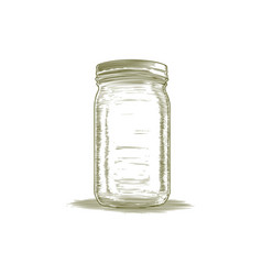 Woodcut mason jar vector
