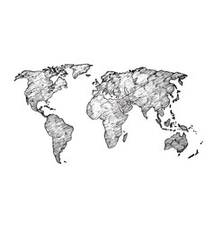 world map sketch earth continents rough drawing vector image