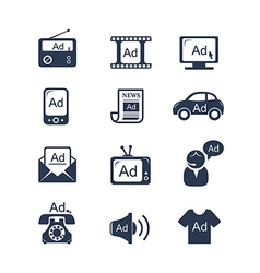 Advertisement icons set vector image vector image